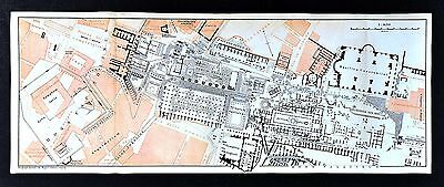 1904 Wagner & Debes Map  Roman Forum Plan Temples Basilica Constatine Rome Italy
