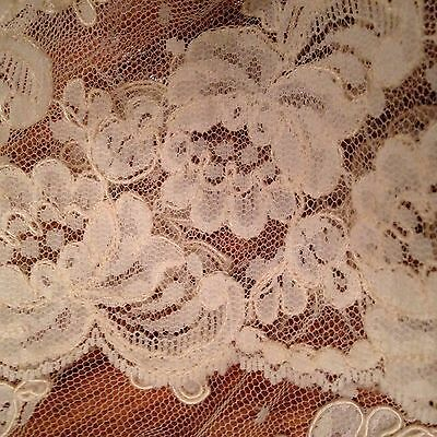 "Vintage 6 Yards Of 10 1/2"" Wide  Ivory  Embroidered Net Lace Trim Tulle Floral"