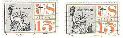 Two used 1959 15c U.S.A. Airmail Stamps
