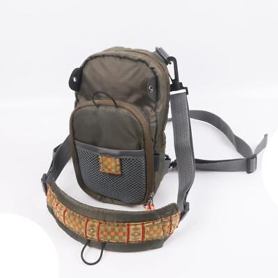 Zipper Vertical Chest Waist Pack Low Profile Fly Fishing Bag Zip Down Bench