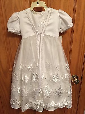 New Toddler Baby Girls Baptism Christening Gown Lace Satin First Communion Dress
