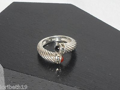 """RING Silver 925 """"W"""" Interesting Design Red and Black Stones Sparkly Cuts Twisted"""