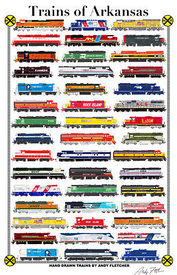 "Trains of Arkansas 11""x17"" Railroad Poster by Andy Fletcher signed"
