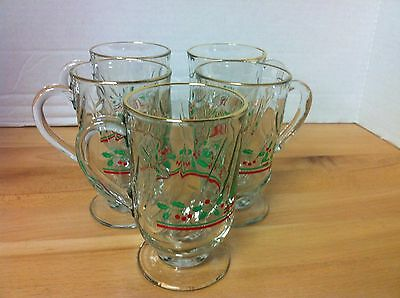 Set of 5 Vintage 1980's ARBY'S Christmas Holly Mugs