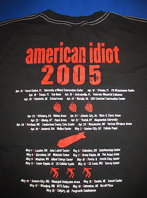 Green Day new never worn 2005 American Idiot Tour shirt large black concert Tee