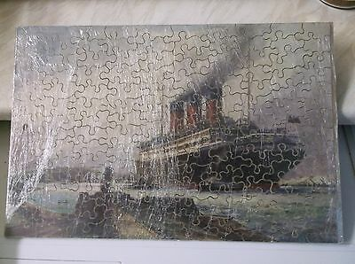"""CHAD VALLEY """"CUNARD"""" WOODEN JIGSAW """"BERENGARIA"""" Complete with Box."""