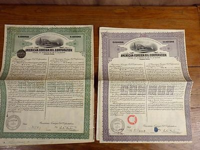 2x ACTIONS WARRANT American Foreign Oil Corporation 1922/1923