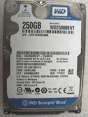 "250GB Western Digital WD2500BEVT 2.5"" WD Scorpio Blue Laptop SATA Hard Drive"
