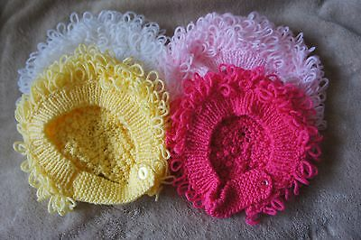 Hand Knitted Loopy Bonnets Hat Colour Pink, White Cerise Easter Yellow