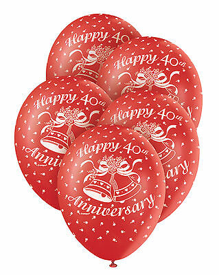 5 x 40th Wedding Anniversary Ruby Wedding Balloons Party Decorations