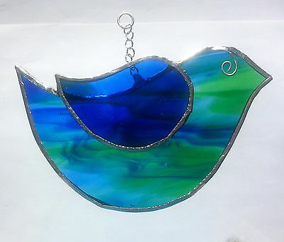 Cute garden blue green bird stained glass handmade suncatcher wildlife gift