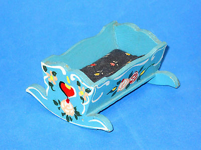 Hand Painted Baby Cradle Dora Kuhn Bavarian German Blue Dollhouse Furniture