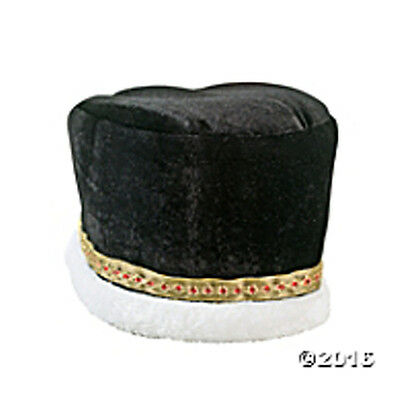 "Black Men's Crown Party Hat Polyester. 23"" circ. x 6"" FREE U.S. First Class SHIP"