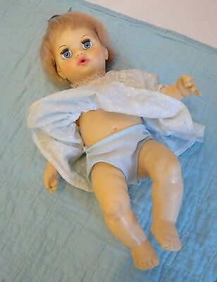 """Vintage TINY TEARS 12"""" Baby DOLL (1982) by IDEAL -Original Outfit ~Big Blue Eyes"""