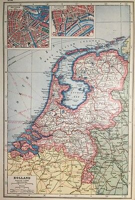 Vintage Antique Original 1920 Map Of Holland & Amsterdam & Rotterdam City Maps
