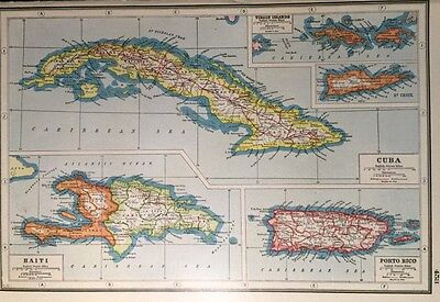 Vintage Antique Original 1920 Map Of Foreign West Indies Cuba Print Great Framed