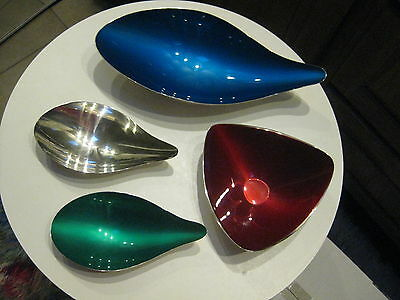 5 Reed & Barton Mid Century Dishes,  3 enameled, 2 plain silver plate, Organic