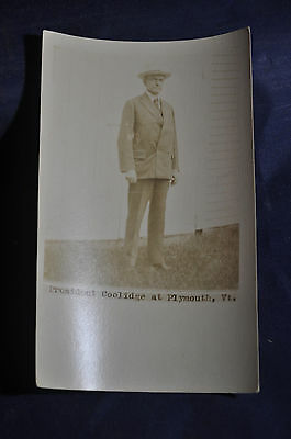 1924 RPPC President Coolidge at Plymouth, Vermont Postcard