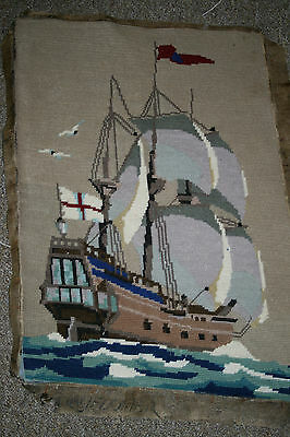 Vintage Wartime Hand Sewn Wool Tapestry Panel/Picture Sailing Ship Upholstery