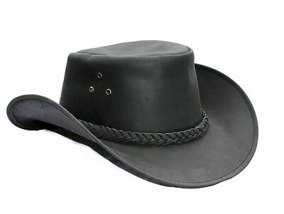 L Horse Western Cowboy Indiana Jones Crushable  Oiled LEATHER Outback Hat 24H04