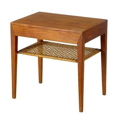 1960's DANISH TEAK AND CANE WORK SIDE TABLE