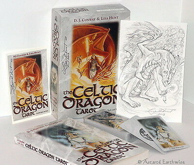 CELTIC DRAGON TAROT SET -  DECK & BOOK By Conway & Hunt - Wicca Witch Pagan Goth