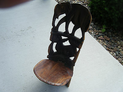 Reduced Hand Carved Wooden African Birthing Chair / Stool