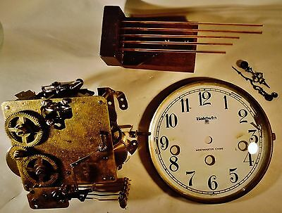 Vintage Baldwin Clock Parts Movement, Face, Chime, Hands for Repair or Restore