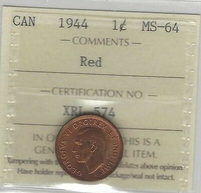 **1944**, ICCS Graded Canadian, Small One Cent, **MS-64**