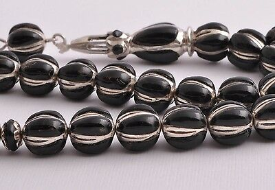 Islamic Prayer Beads-Worry Beads- Sterling silver, black coral inlay