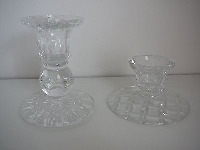 Two crystal candlestick holders elegant wedding parties table centrepiece candle