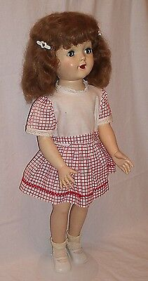 American Character Sweet Sue walker doll 24 inches brown hair red white dress