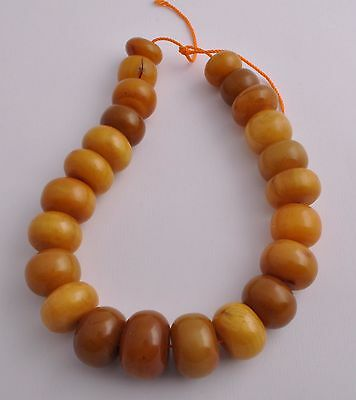 Antique African Bakelite Amber Trade Beads-Simulated Amber Strand Necklace
