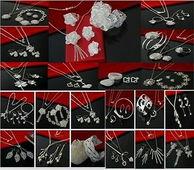 Brand new silver Wholesale jewelry 925silver bracelet&necklace&ring&earrings set