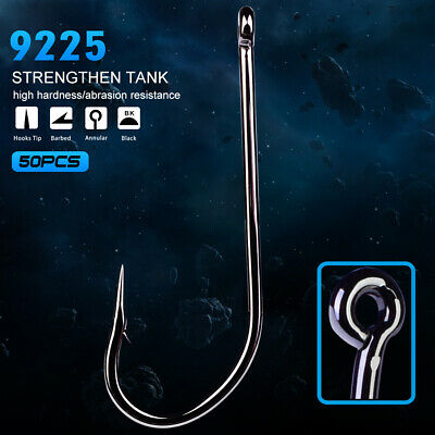 Lot 50pcs O'shaughnessy Hook High Carbon Steel Jig Big Fishing Hooks Black 9225