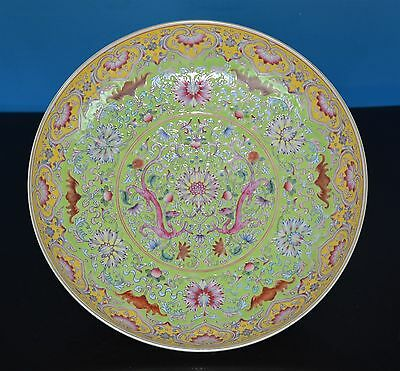 Stunning Antique Chinese Famille Rose Porcelain Plate Marked Qianlong Rare T9155