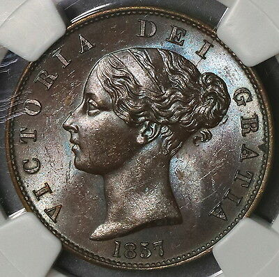 1857 NGC MS 64 Victoria BU 1/2 Penny GREAT BRITAIN Coin POP 6/1 (16110314C)