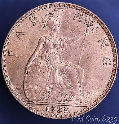 1928 George V KGV Farthing, 1/4 penny, 1/4d coin *[8239]