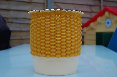 Vintage Retro Yellow Plastic Weave Smit And Co Waste Paper Bin