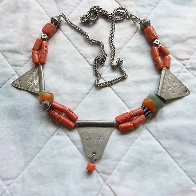 Moroccan  Berber Coral Necklace with Antique Silver Pendants , Berber jewelry