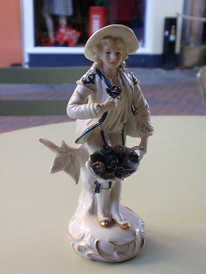 Vintage Sitzendorf German Porcelain Flower Seller Young Man Boy Figure Figurine
