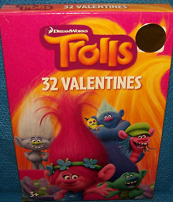 Valentines Day Cards (Box of 32) Dreamworks Trolls