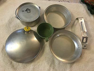 1960's Girl Scout Canteen, Cook Set and Utensils with Covers