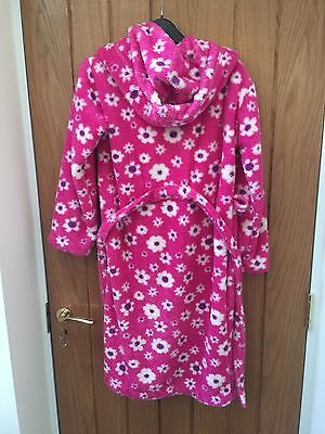 John Lewis Girls Fluffy Hooded Pink Dressing Gown age 11