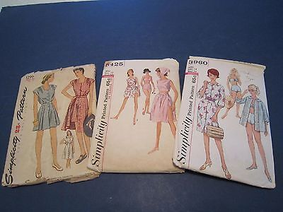 3 Vintage Simplicity Womens Clothing SEWING PATTERNS 1299, 3960, 5425 c1950's