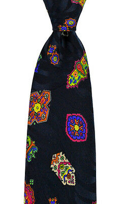 New SANTOSTEFANO Abstract Black Geometric Woven 100% Silk Neck Tie MSRP $195!