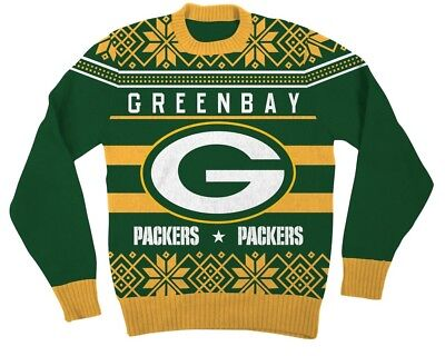 NFL Green Bay Packers Logo Adult Green Football Ugly Christmas Sweater