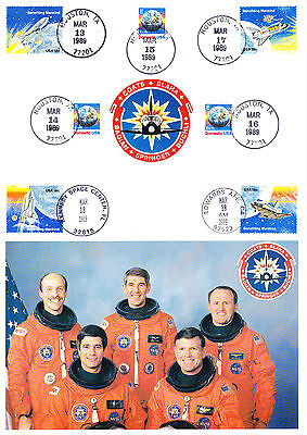 USA American stamps on A4 size Card Space Travel NASA Astronauts Astronaut 1989