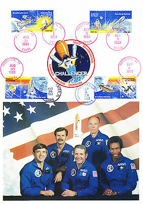 USA American stamps on A4 size Card Space Travel NASA Astronauts Challenger 1983