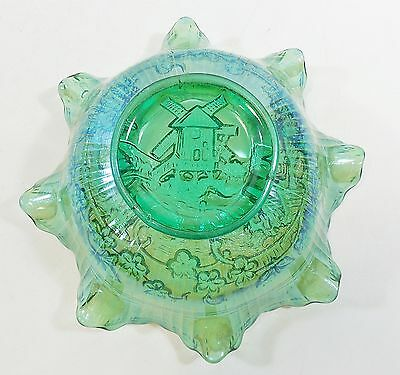 """Antique Imperial Canival Glass 8"""" Ruffled Bowl w/ Windmill, Green Radium Finish"""